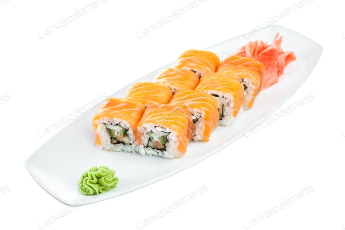 Sushi (Roll unagi maki syake) on a white background