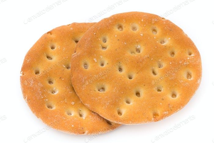 Mürbeteig Kekse isoliert auf weißem Hintergrund.