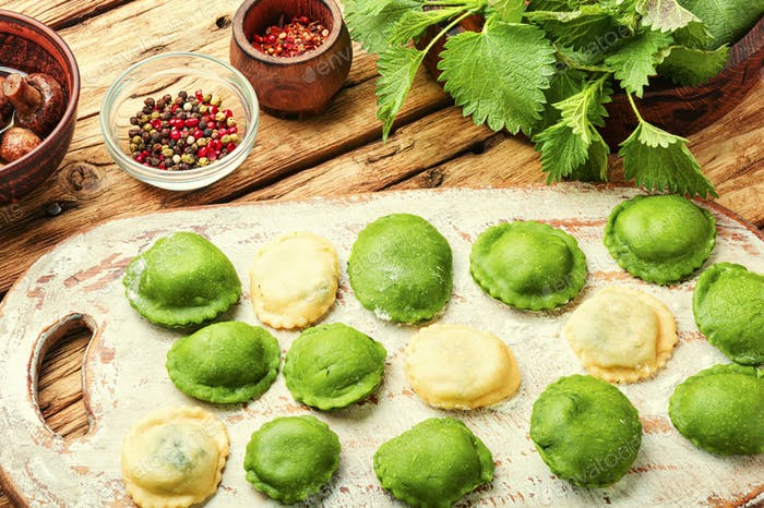 Uncooked dumplings or ravioli