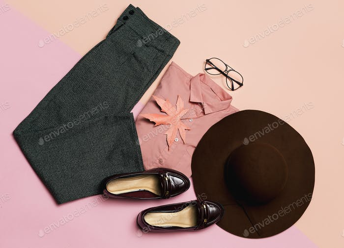 Stylish clothes set. Spring. Accessories. Hat and vintage shoes
