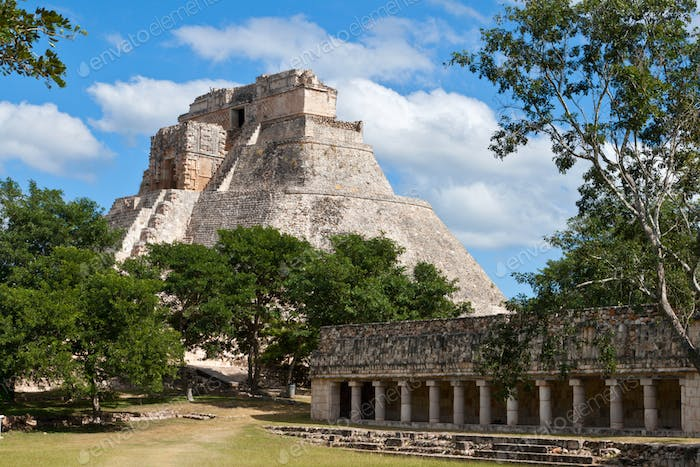 Mayan pyramid (Pyramid of the Magician, Adivino) in Uxmal, Mexic