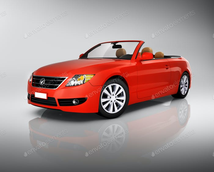 Studio Shot Of Three-Dimensional Red Convertible