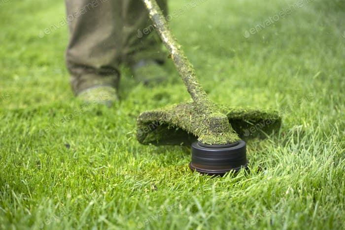 Lawn mover on green grass. Machine for cutting lawns.