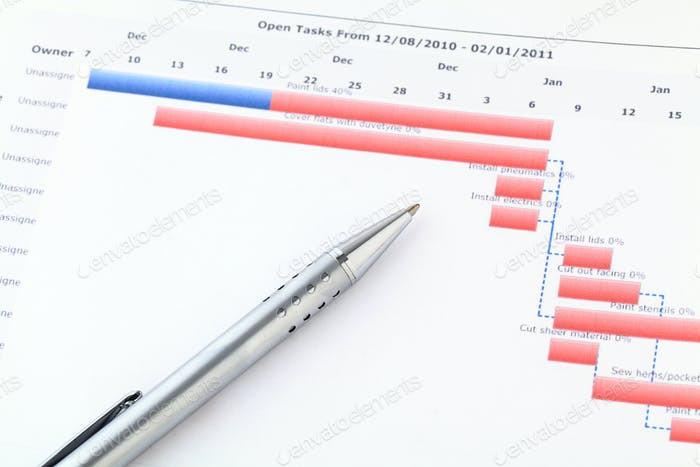 Gantt chart with pen