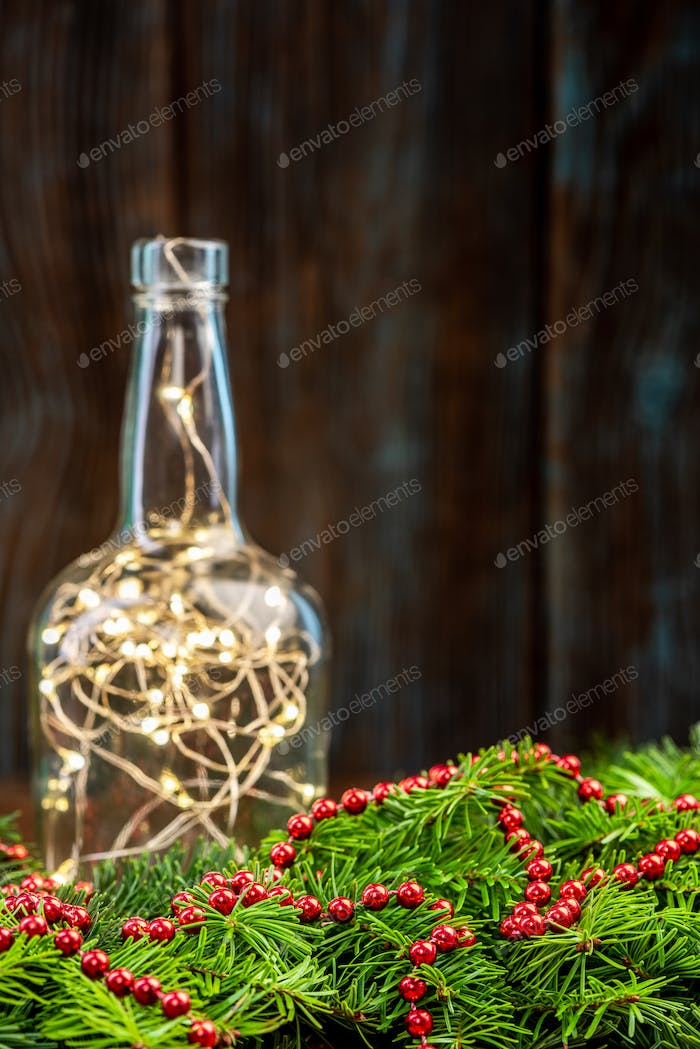Christmas Background with Spruce Tree and Lights, Copy Space on