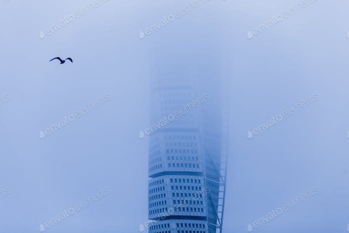 View of HSB Turning Torso covered with fog