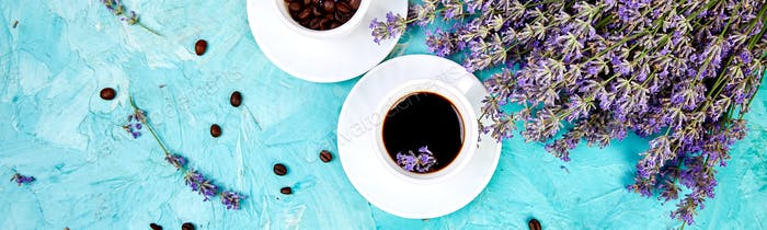 Banner of Coffee and lavender flower on blue background from above.