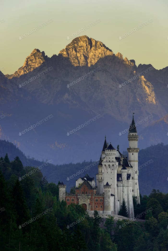 Morning view of the Neuschwanstein castle, Bavarian Alps, Bavaria, Germany. Typical alpine scenery.