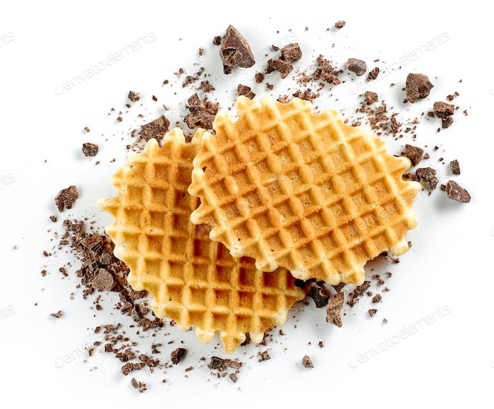 round waffles and small chocolate crumbs
