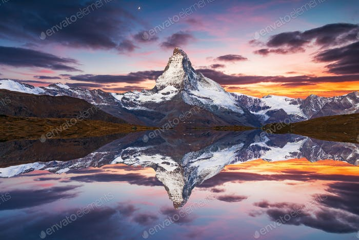Matterhorn peak reflected in Stellisee Lake in Zermatt, Switzerland