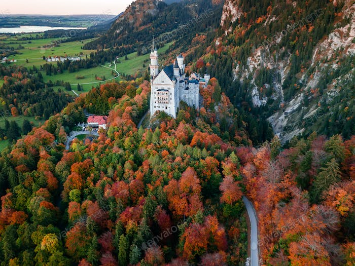 Amazing aerial view on Neuschwanstein. Bavaria, Germany
