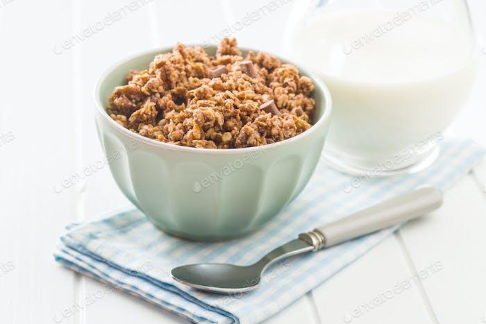 The chocolate granola breakfast cereals.