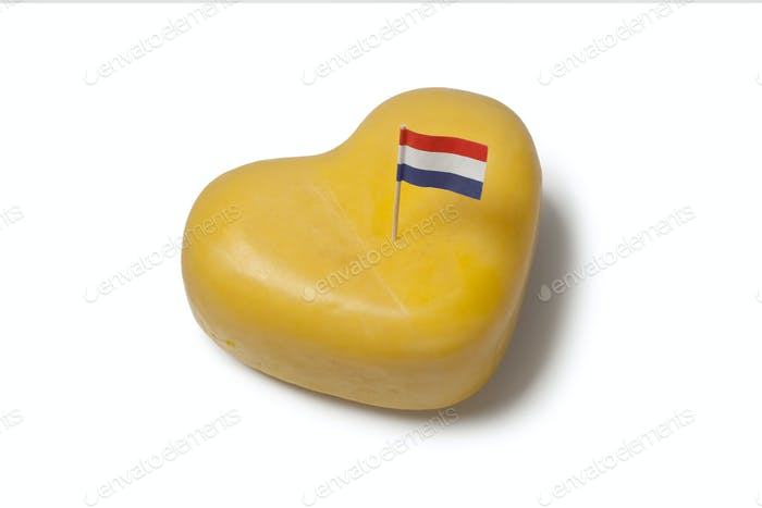 Heart shaped Gouda cheese with Dutch flag