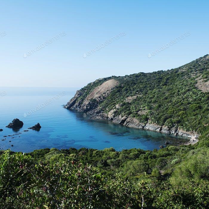 Panoramic view of beach Managu, Sardinia