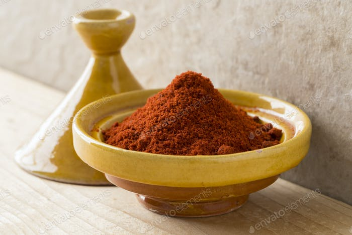 Traditional bowl with Moroccan dried ground paprika