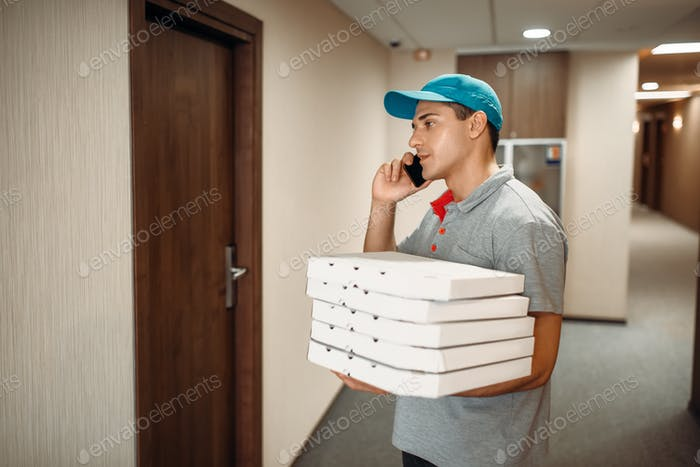 Pizza delivery man at the door calls to customer