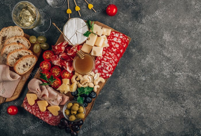 Assortment of spanish tapas or italian antipasti