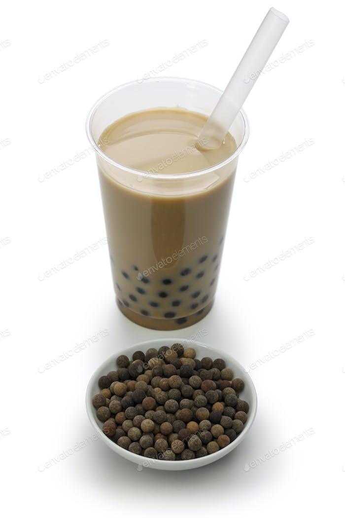 Taiwanese bubble tea and black tapioka balls