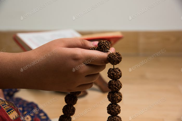 Meditation with Rudraksha Mala