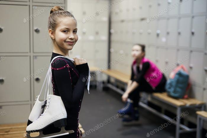 Little Figure Skater in Dressing Room