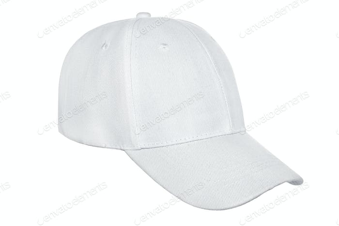 White baseball cap isolated