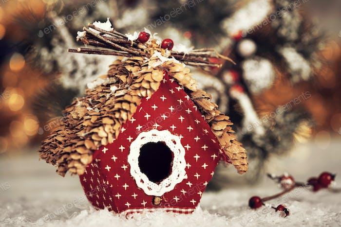 Small birdhouse Christmas decoration