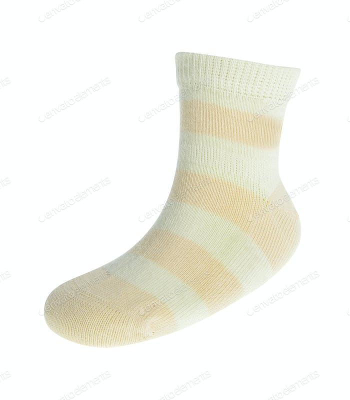 The striped sock on a white background