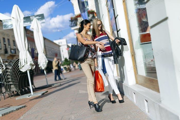 Beautiful women shopping spree