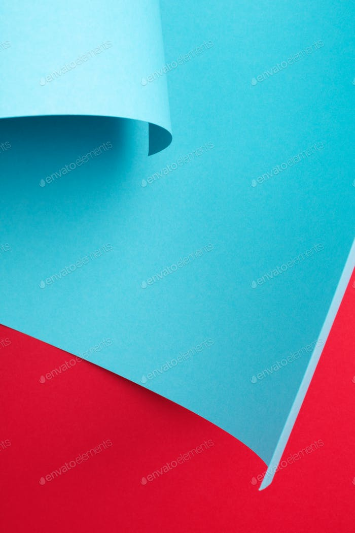 Curve Paper Abstract Background, Red and Blue Art Frame.