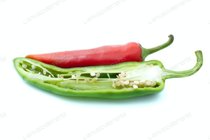 Red chili pepper and half of green
