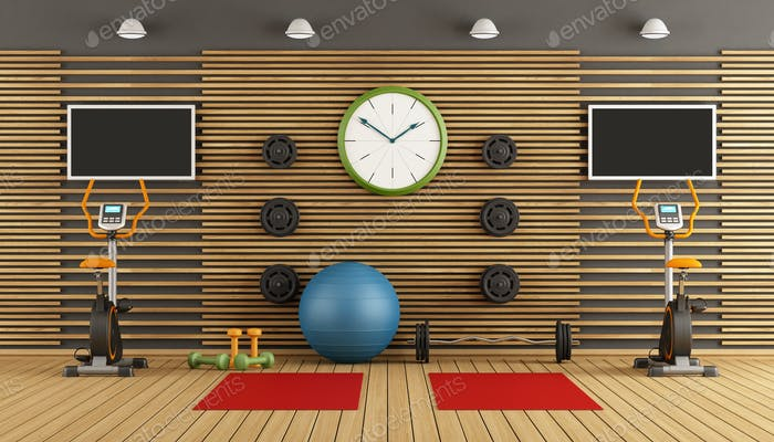 Thumbnail for Wooden room with gym equpment