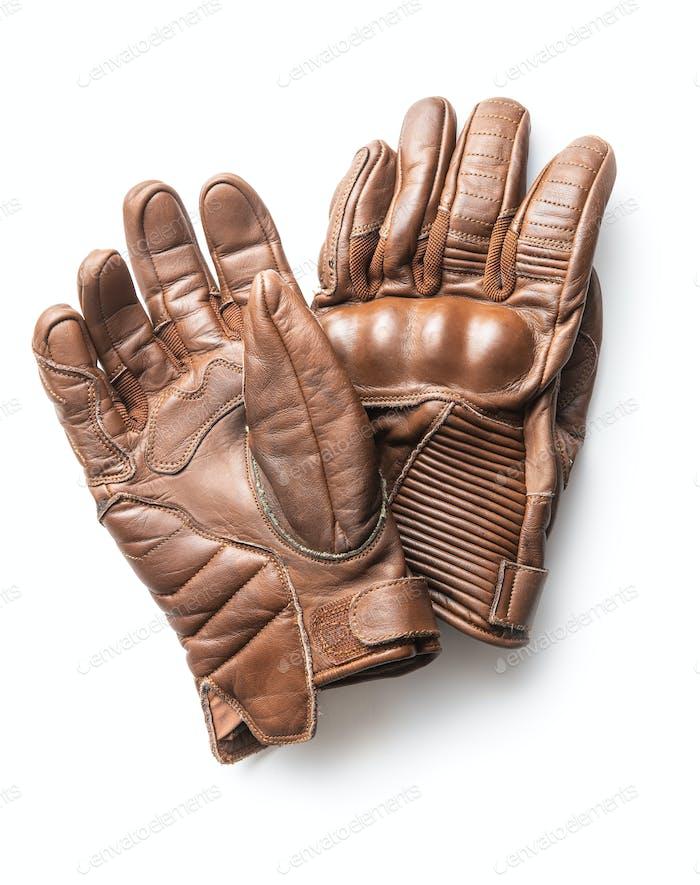 Brown vintage motorcycle gloves.