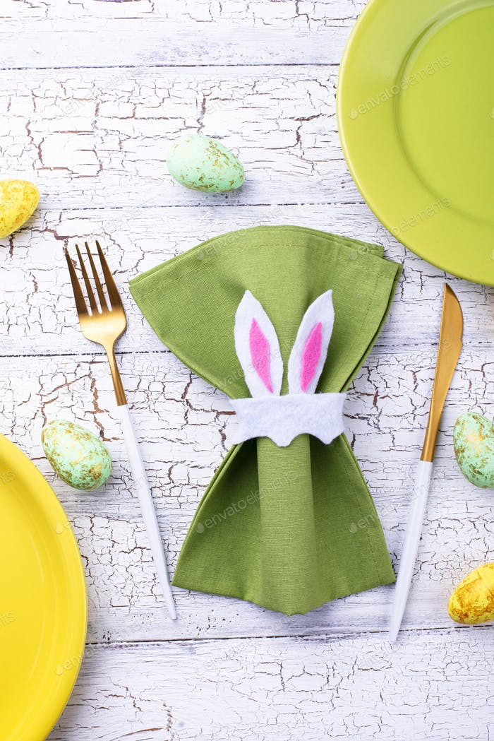 Easter table setting in green color