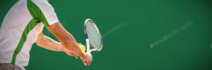 Composite image of tennisman