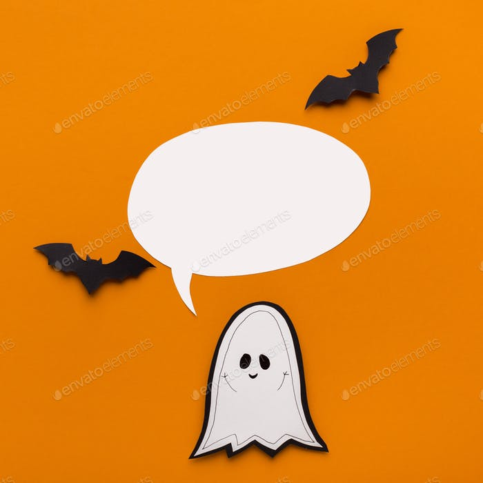 Halloween advertisement banner with ghost and speech bubble