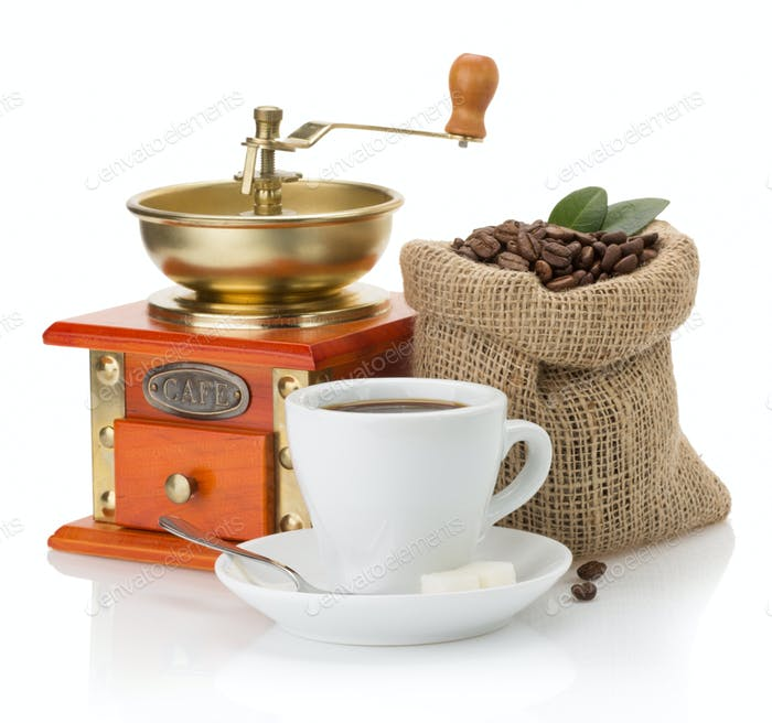 cup of coffee and beans on white
