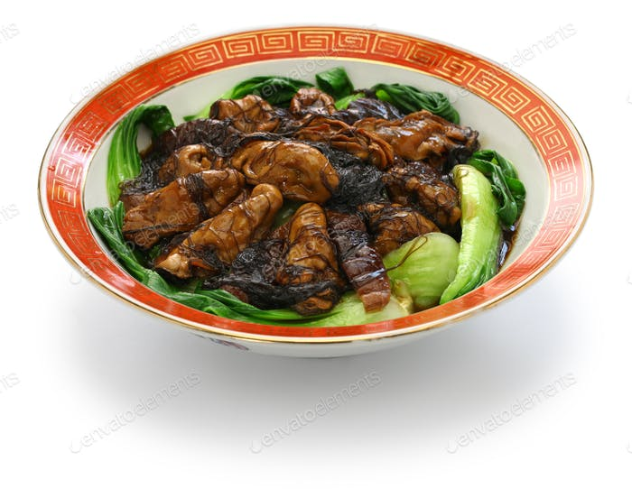 braised dried oysters with black moss (ho see fat choy ) , traditional chinese new year dish