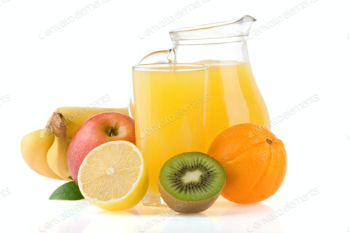 fresh fruits juice in glass and slices isolated on white