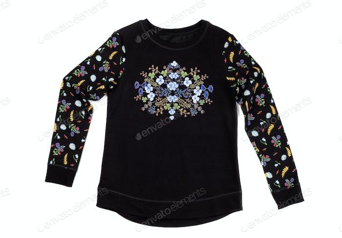 Black jacket with floral pattern