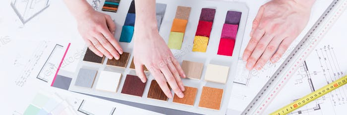 Choosing between colorful material samples