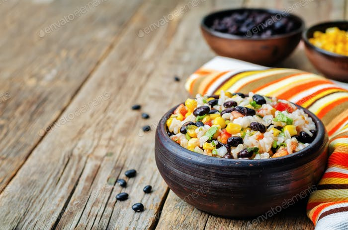 Lime black beans corn rice