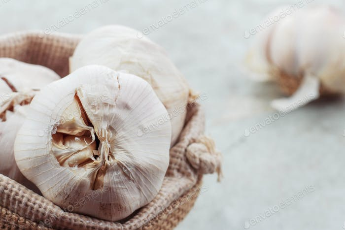 Garlic in a sack