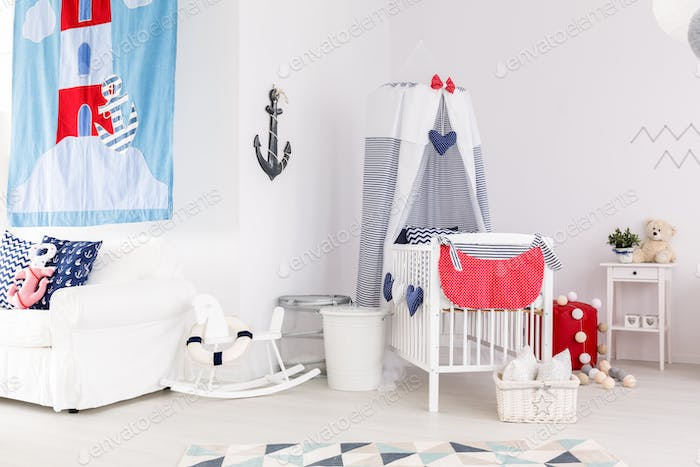 Baby room with nautical accents