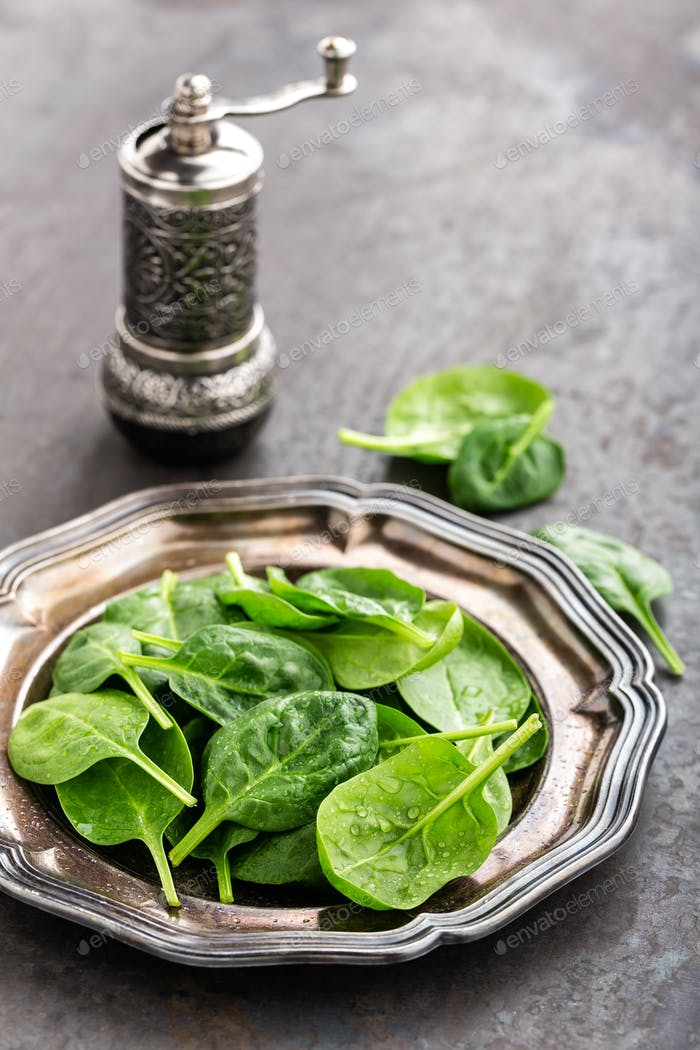 Fresh baby spinach leaves