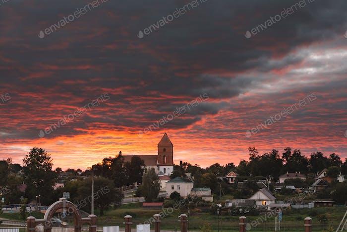 Mir, Belarus. Landscape Of Village Houses And Saint Nicolas Roma