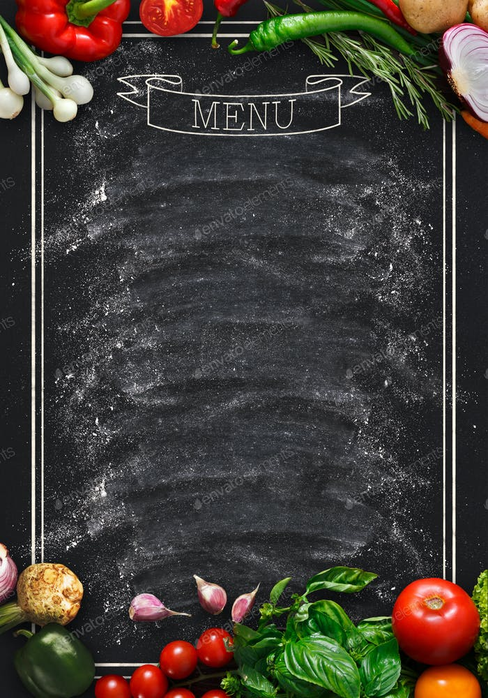 Black chalkboard as mockup for restaurant menu