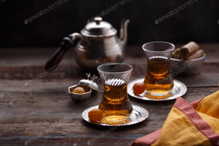 Two cup of turkish tea, close view selective focus