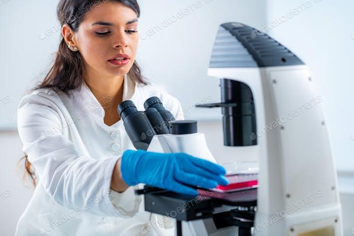 Female Junior Researcher in the Lab