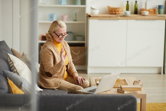 Woman communicating online