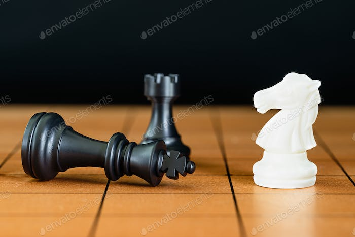 Chess pieces on a wood chessboard-5